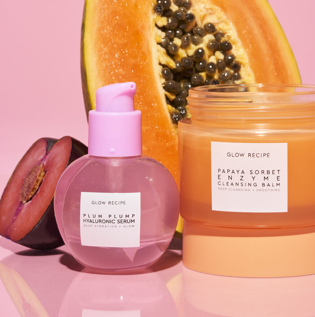 Glow Recipe Plum Plump Hyaluronic Serum, Papaya Sorbet Enzyme Cleansing Balm with fruit